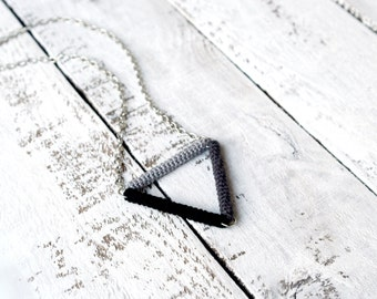 Triangle Necklace, Minimalist Geometric Necklace, Simple Modern Crochet Pendant,  black gray ombre triangle