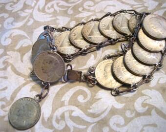 Vintage Silver Chain 1853 Coin Bracelet