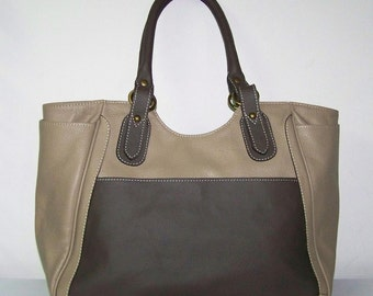 Color Block Taupe Deep Brown Leather Tote Women Leather Tote Large Leather Tote Travel Leather Bag leather Weekender Leather Bag, Julia xl