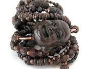 Unusual wood Buddha bracelet set Buddha jewelry laughing Buddha bracelet stack unique jewelry Buddhist jewelry wood jewelry
