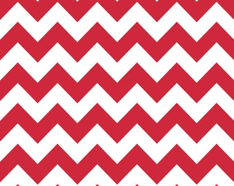"LAMINATED Cotton  - Red Chevron, 42"" Wide, BPA & PVC Free"