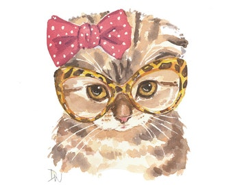 Kitten Watercolor Print - Scottish Fold Cat, Retro Glasses, Cute Kitten, 8x10 Print