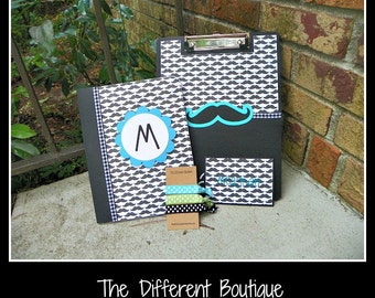 Mustache or TFIOS Back to School Personalized Combo Pack Includes Personalized Clipboard, Notebook, Hair Ties, and Locker Magnet
