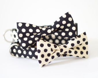 4 colors to choose from! Dog cat pet bow tie collar set Cream Black dot collection
