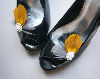Shoe, clips, yellow, Peacock,  Bridal, Feather, accessories, Wedding, black, gold, gray - BLACK & YELLOW shoe clips