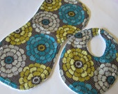 Contoured Burp Cloth AND Baby Bib Set-- Ready to Ship