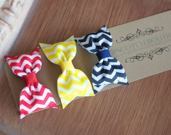 Patty clips trio Chevron Blue, Red and Yellow Bow tie Hair Clip