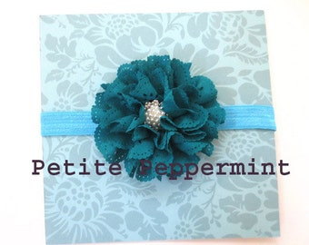 Baby Headband, infant headband, toddler headband - Teal Baby Flower Headband
