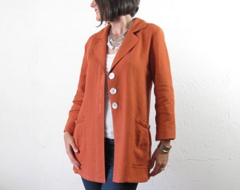 Linen Jacket with Notched Collar - Burnt Orange with Shell Buttons and Pleated Pockets