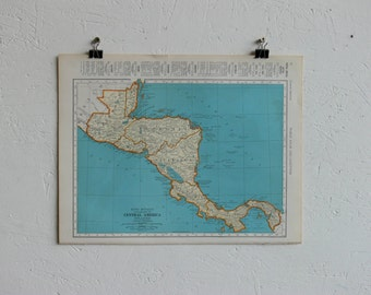 Vintage Map-Central America-Early 20th Century
