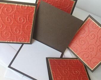 Valentine Miniature Note Cards:  Handmade Blank / 5 Pack Set - Chocolate Covered Cherries