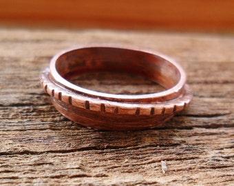 One Ring Copper Ring, Copper Ring, Wire Ring, Copper Wire, Ring, Textured Ring, Mens Ring, Womens Ring, Band Ring
