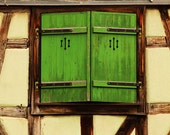 Fine Art Color Architecture Photography of Green Shutters in Colmar France 11x14 Print