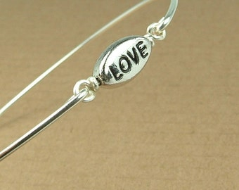 Love Bracelet, Silver Love Bangle Bracelet, Love Jewelry, Bridesmaid Bracelet, Silver Bridesmaid Jewelry