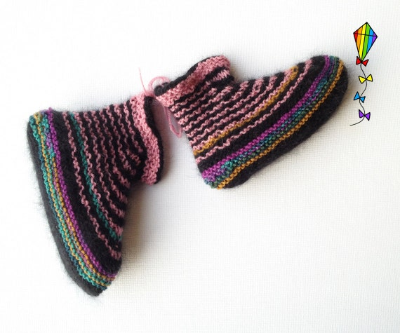 Liquorice Pixie Slippers - Child's Slippers - Cute Knitted Slippers for Young Child or Toddler - Kid's Striped Slippers Bed Socks for Feet
