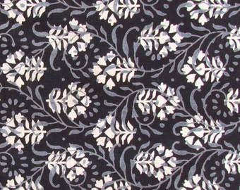 hand printed cotton fabric -black and white floral motif fabric - 1 yard - ctjp112