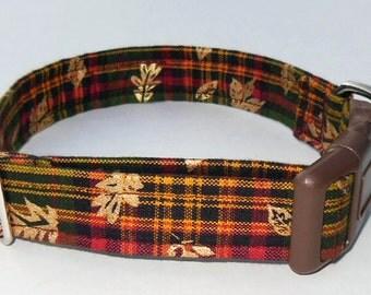 Fall Plaid Adjustable Dog Collar- Made to Order-