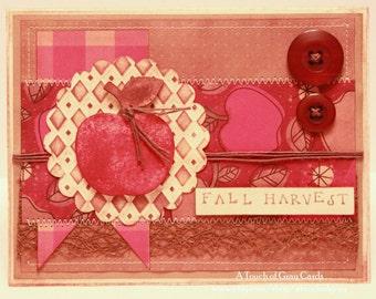 Fall Card - Harvesting Apples  - Handmade Fall Card - Autumn Card - Thanksgiving Card