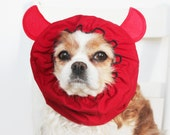 Little Devil Dog Snood - Stay-Put 3 Rows Elastic Thread - Pet Hat - Long ear covering - Specialty Snood