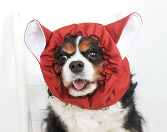 Fox Dog Snood - Stay-Put 3 Rows Elastic Thread - Pet Hat - Long ear covering - Specialty Snood