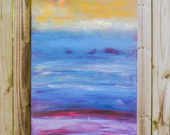 Horizon #4 very large 30x48 abstract original contemporary painting blue red yellow primitive urban rustic landscape