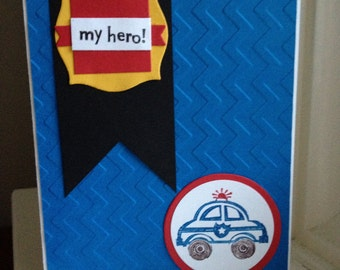 My Hero Police Car Card - Blank