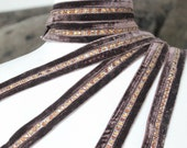 Very nice brown color velvet   trim  with rhinestones  1 yard listing 1 inch wide