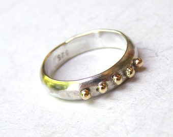 Wedding band, Stacking ring 14k solid Gold ring and silver ring with Lovely 14k gold dots - made to order