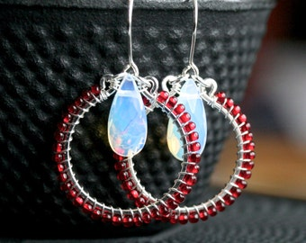 Opalite earrings, beaded hoop, red seed bead, opaline briolette, wire wrapped, drop earrings, dangle hoops, Mimi Michele Jewlery