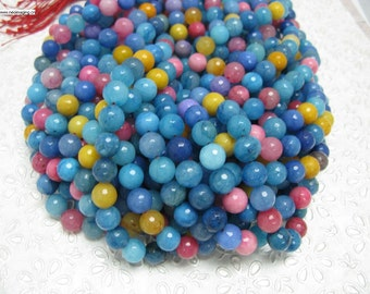 37 pcs facted multi color round agate beads in 10mm