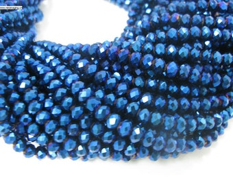 90 pcs 4x6mm rondelle blue color crystal glass beads