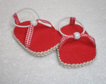 RED & WHITE SANDALS 18 inch doll clothes