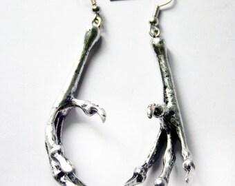 Silver, Pewter Bird Claw / Bird Foot Earrings