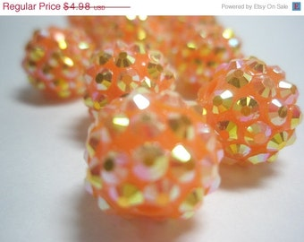 CLEARANCE SALE 14 mm  - 10 Rhinestone Resin Balls - TANGERINE Orange  - Basketball Wives Inspired