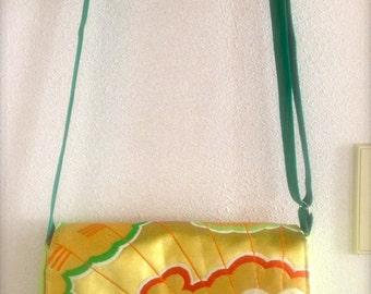 Kimono / Obi / Japan / GR454 Beautiful Flower Pattern Obi Messenger Bag In Lime Green