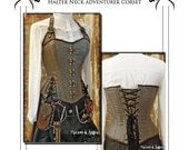 Steampunk  / Pirate corset Halter neck style adventurer corset full size paper pattern - size medium