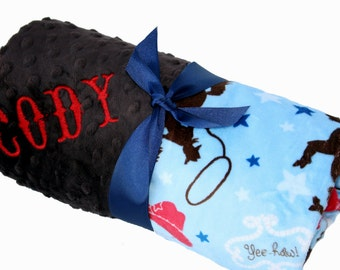 Western Cowboy Minky Baby Blanket with Brown Dot Minky Back Personalization Included Stroller Size