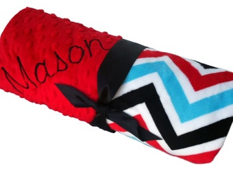 Tri-Colored Chevron Blanket with Red Minky Back Personalization Included Toddler size