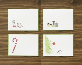 box of 8 variety red and green retro christmas cards