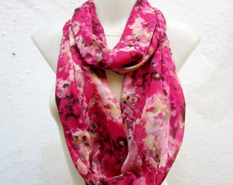 infinity Scarf Loop Circle Scarf Fabric Tube scarf Pink Black Green