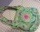 Grab n Go bag in green, pink and plum flower print