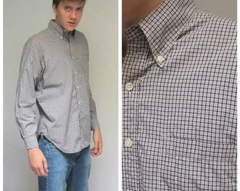 Navy Blue and Red Small Check Plaid Oxford Shirt | Vintage Button Down Mens Shirt Medium Large