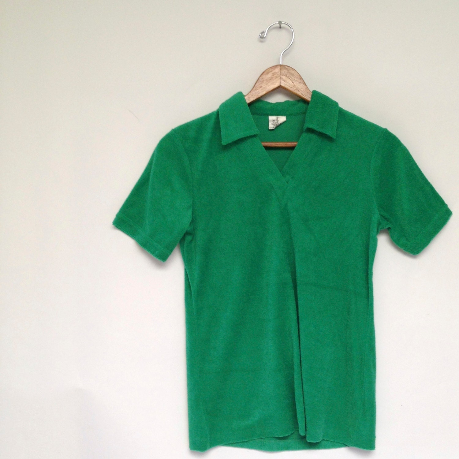 70s vintage kelly green terry cloth polo shirt small xs short for Mens terry cloth polo shirt