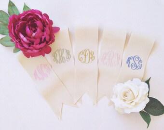 """custom monogrammed bouquet ribbon (3"""" wide grosgrain), bridal bouquet, bridesmaid bouquet"""