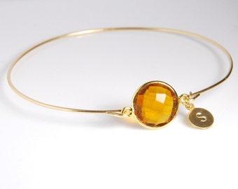 Honey quartz bangle bracelet, 14K gold filled bracelet, personalized gemstone bracelet, personalized jewelry, with genuine natural gemstone