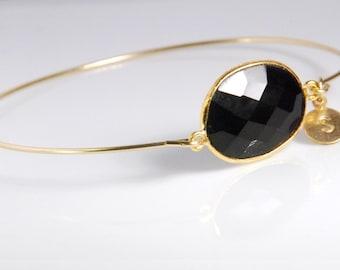 Black spinal bangel  bracelet, 14K gold fill bracelet, personalized gemstone bracelet, personalized jewelry, with genuine natural gemstone