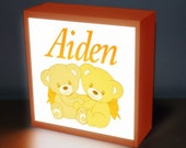 "Teddy bear  8"" x 8"" Personalized night lights, baby light, nursery lamp, kids light, kids lamp, childrens night light baby light lamp kids"