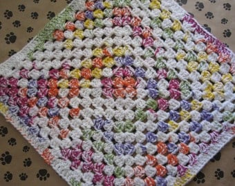 Crocheted Pet Blanket - Multicolor - Tutti Frutti/White