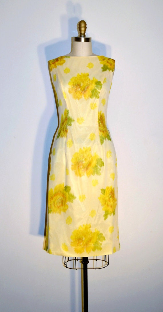 Vintage 50s Wiggle Dress - 50s Party Dress - Lemon Meringue Chiffon