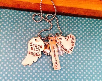 NEW-Dance With Angels Hand Stamped Memory Necklace